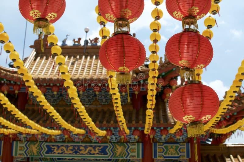 Lanterna di carta rossa cinese al tempio di Thean Hou fotografia stock libera da diritti