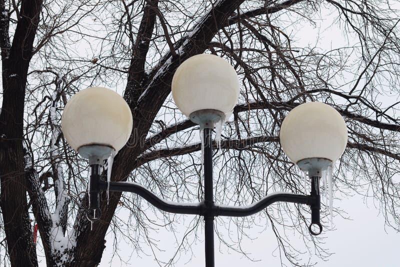 Lanterna di inverno con i ghiaccioli nel parco fotografia stock libera da diritti