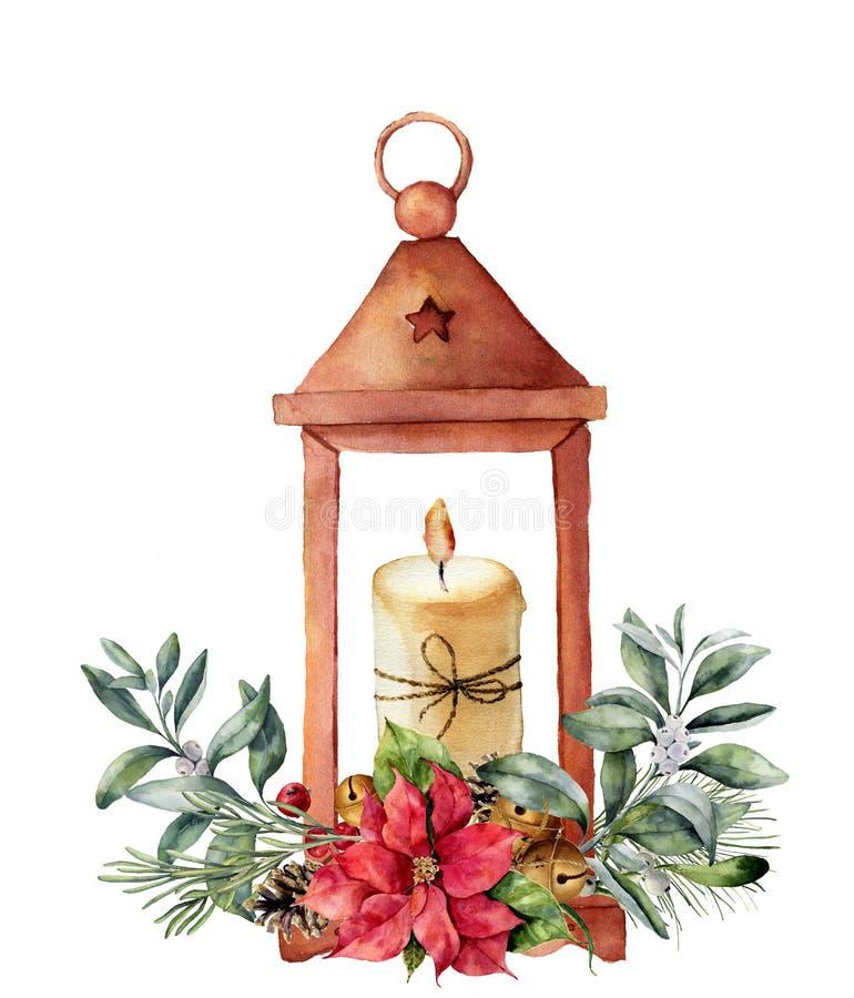 Lanterna do Natal da aquarela com vela e decoração Lanterna tradicional pintado à mão com a planta do Natal isolada sobre ilustração royalty free