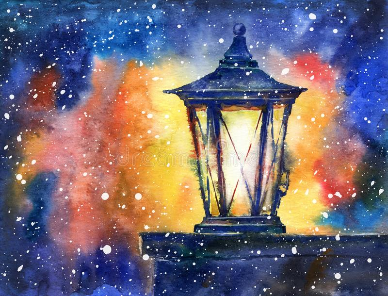 Lanterna e flocos de neve do Natal watercolor ilustração royalty free