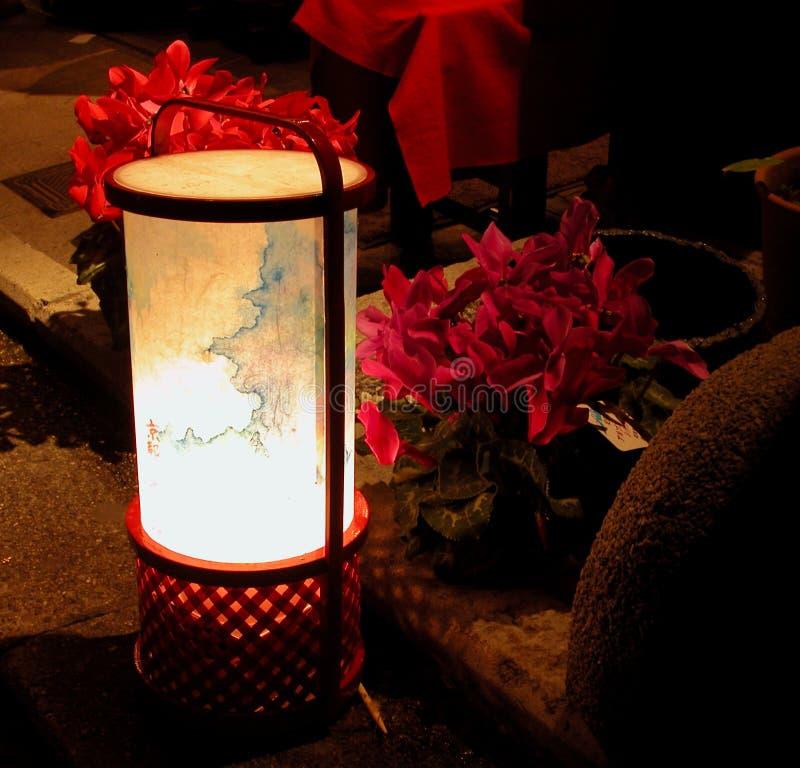 Lanterna E Flores No Nig Imagem de Stock Royalty Free