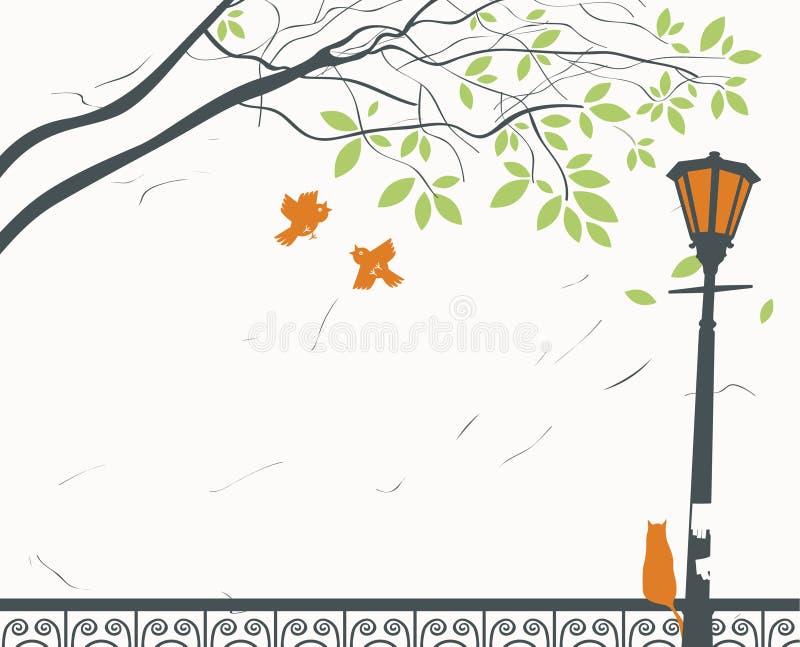 Lanterna e gato ilustração stock