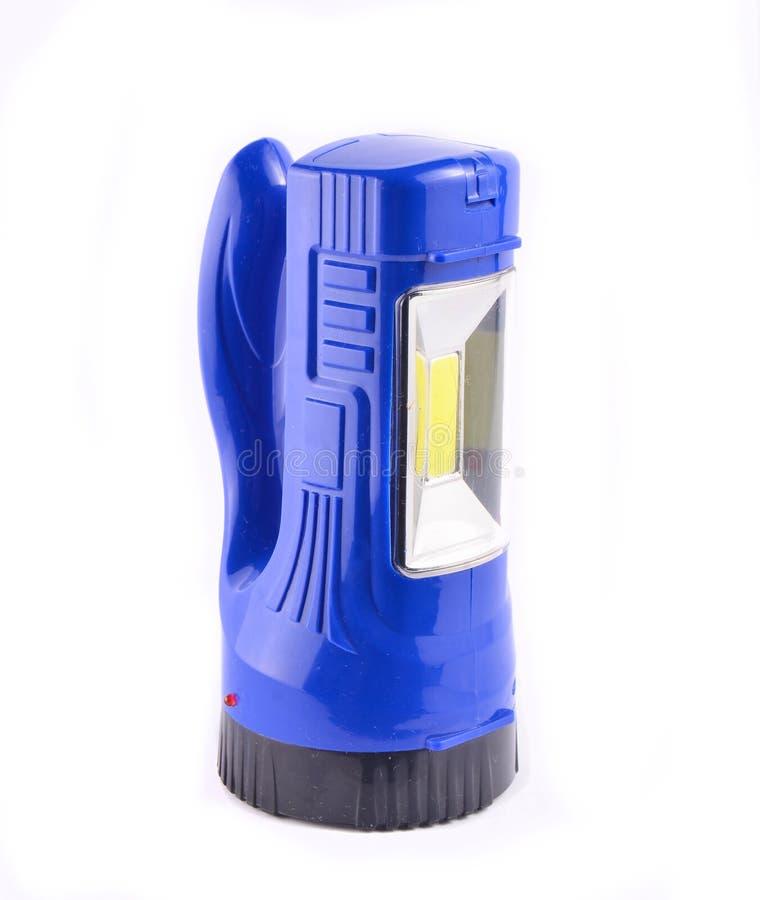 Lanterna elétrica azul isolada no fundo branco foto de stock