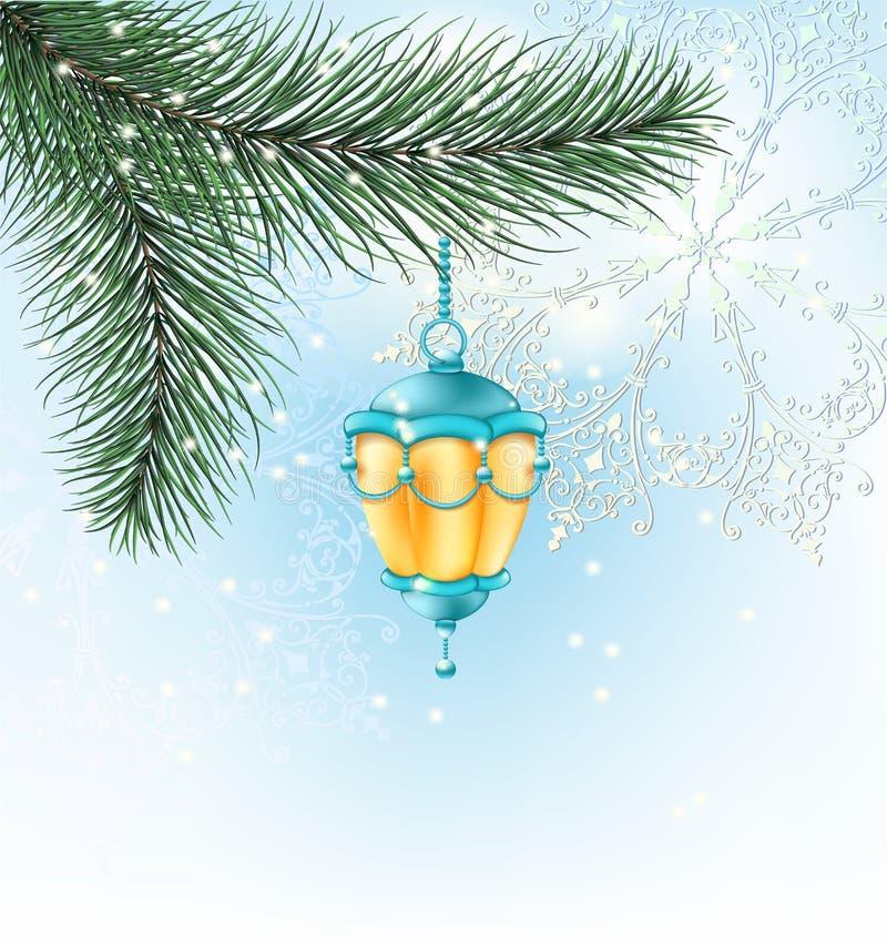 Lanterna elétrica do fundo do Natal em um ramo de árvore do Natal com fundo azul bonito da neve com flocos de neve ilustração stock