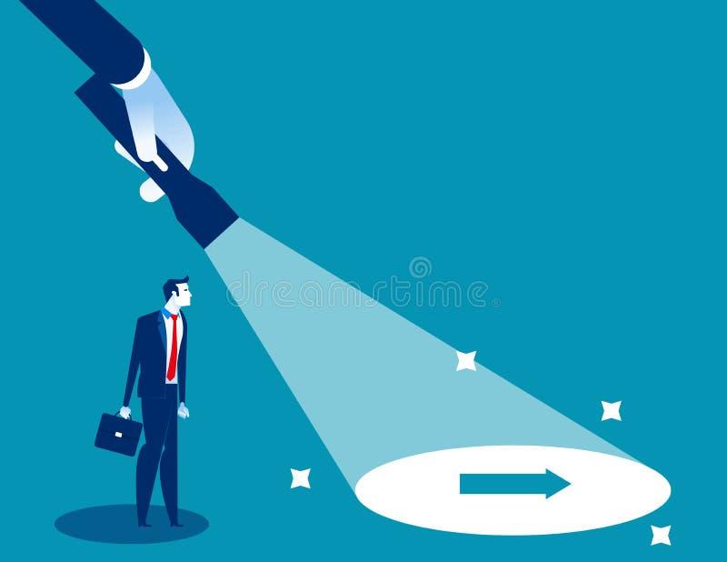 Lanterna elétrica que descobre o sinal escondido da seta Ilustração do vetor de sentido do negócio do conceito, caráter liso, est ilustração do vetor