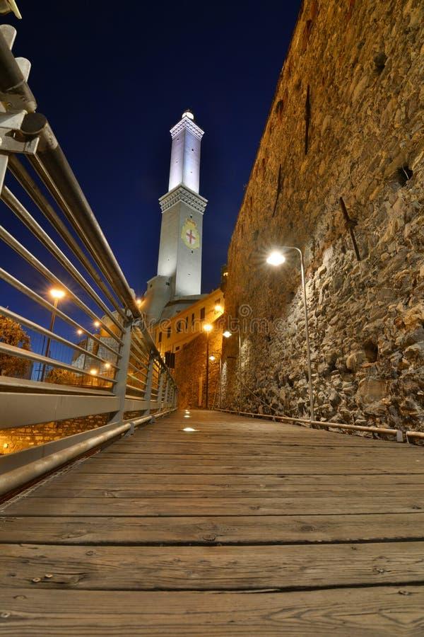 Lanterna, il faro e simbolo della città di Genova Genova La Liguria, Italia immagini stock libere da diritti