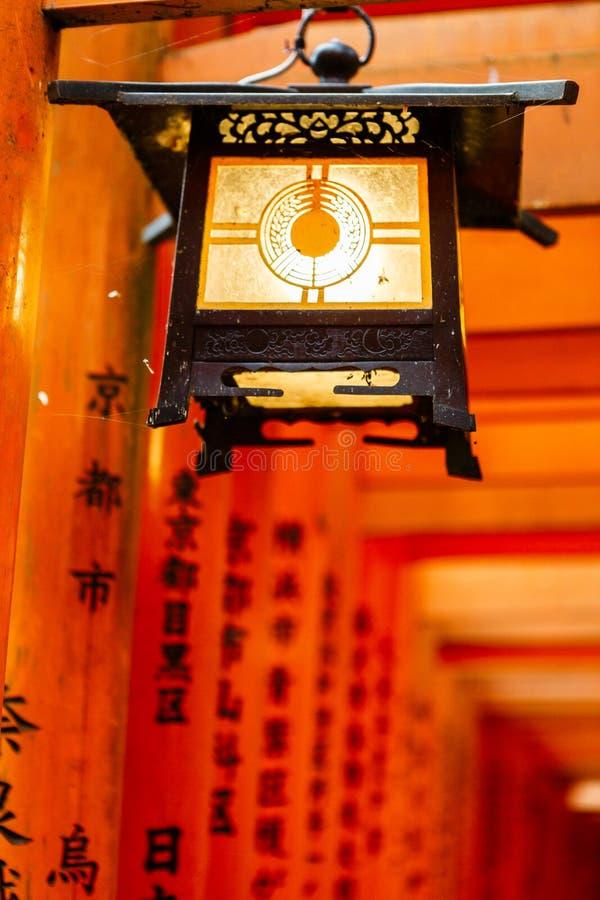 Lanterna no santuário de Fushimi Inari, Kyoto Japão fotografia de stock