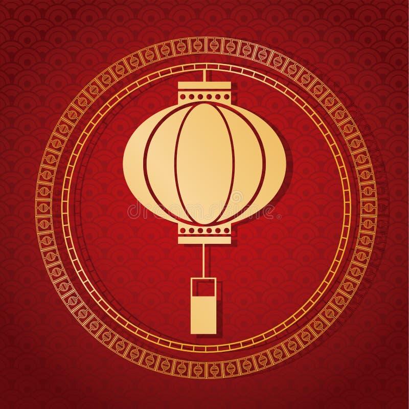 lanterna tradicional chinesa do ano novo 2017 dourada ilustração royalty free