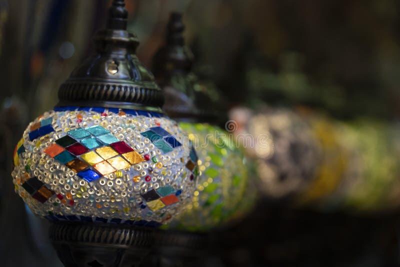 Lanterna variopinta di vetro araba della lampada fotografia stock libera da diritti