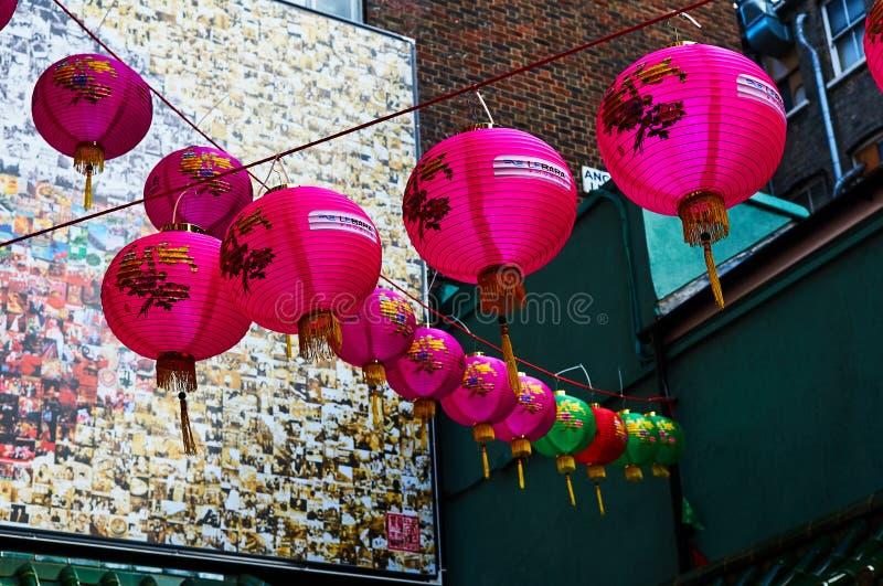 Lanterna vermelha no ano novo chinês de Londres do bairro chinês fotos de stock royalty free