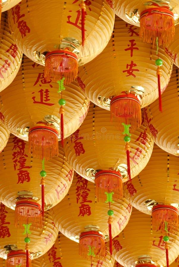 Lanternas amarelas do clássico chinês fotos de stock royalty free