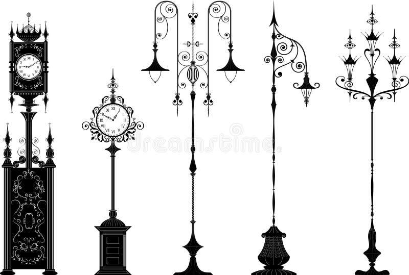 Lanternas antiquados e pulsos de disparo da rua ilustração do vetor