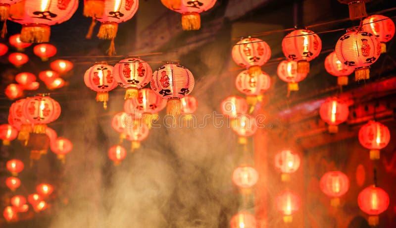 Lanternas chinesas do ano novo em chinatown foto de stock