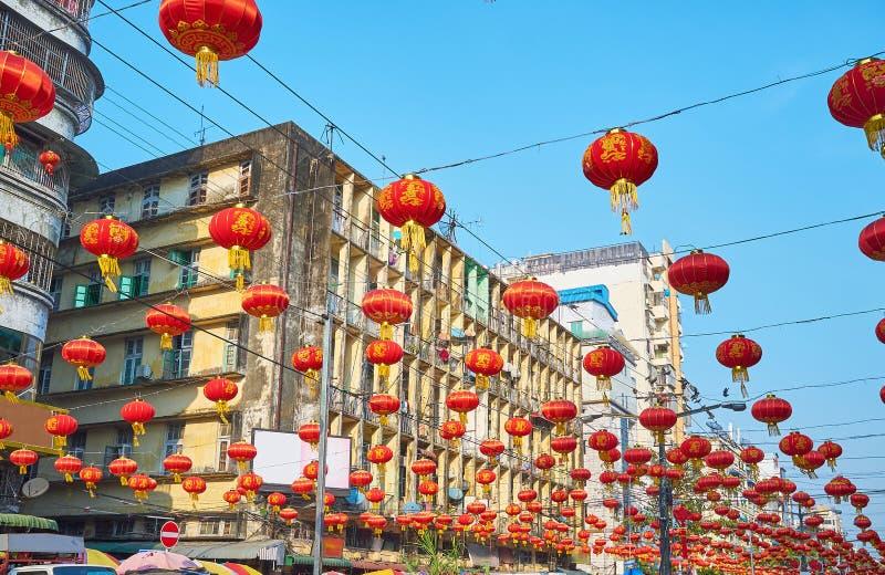 Lanternas chinesas em Yangon, Myanmar fotos de stock