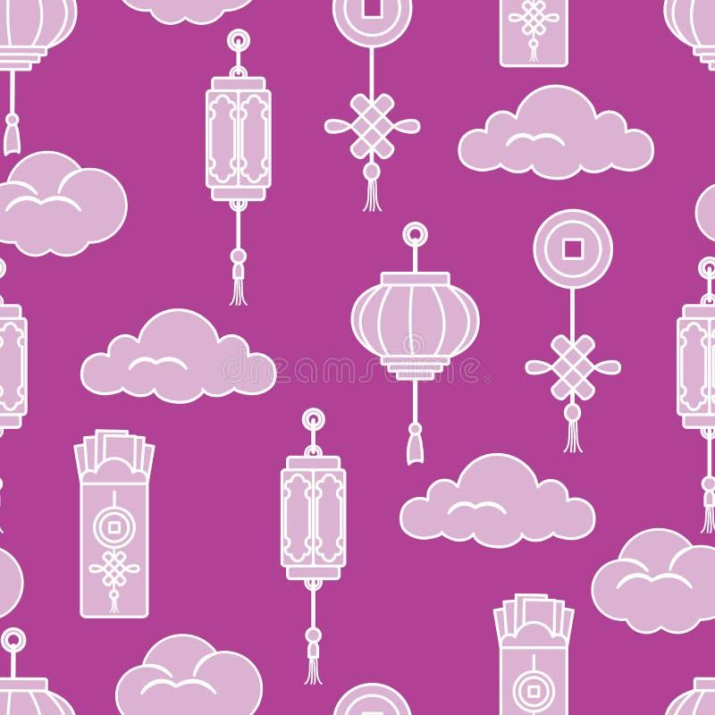 Lanternas chinesas, envelopes chineses do dinheiro, moeda para a boa sorte, nuvens Tradi??es festivas de pa?ses diferentes ilustração stock