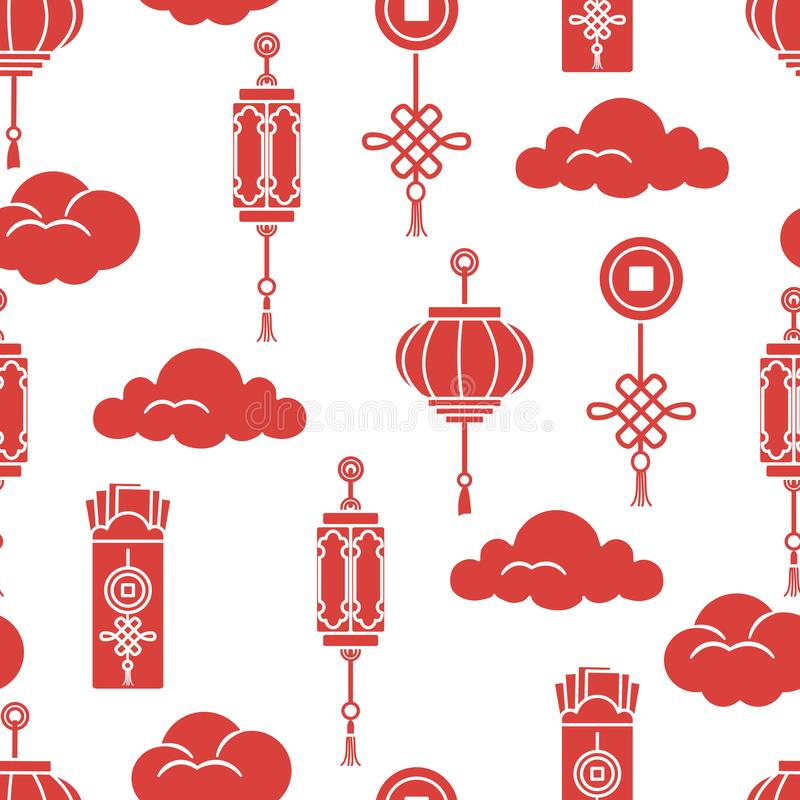 Lanternas chinesas, envelopes do dinheiro, moeda, nuvens ilustração royalty free