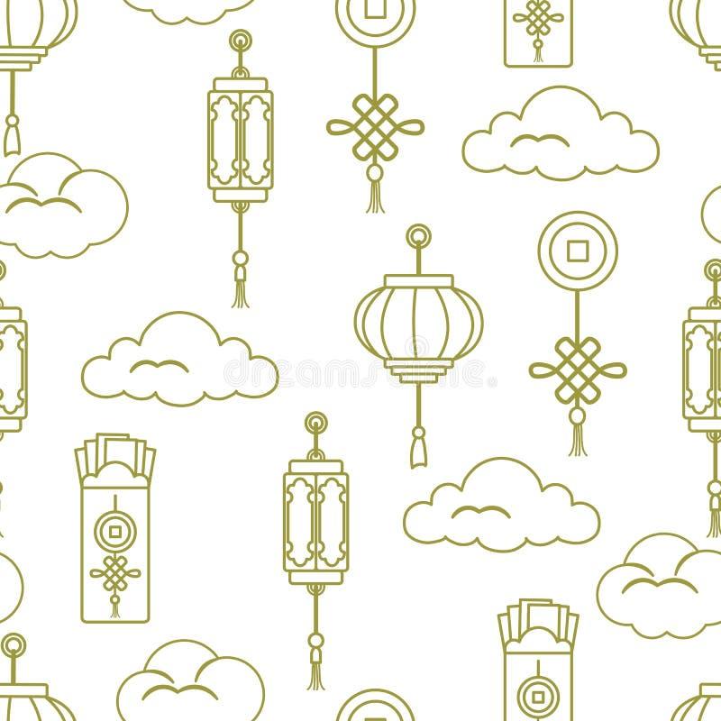 Lanternas chinesas, envelopes do dinheiro, moeda, nuvens ilustração stock