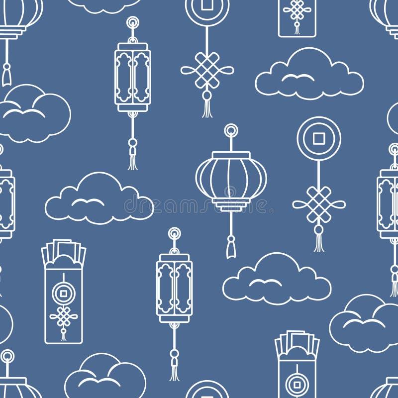 Lanternas chinesas, envelopes do dinheiro, moeda, nuvens ilustração do vetor