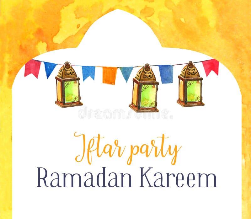 Lanternas da celebração do partido de Ramadan Kareem Iftar com decorações, ilustração tirada mão da aquarela ilustração stock