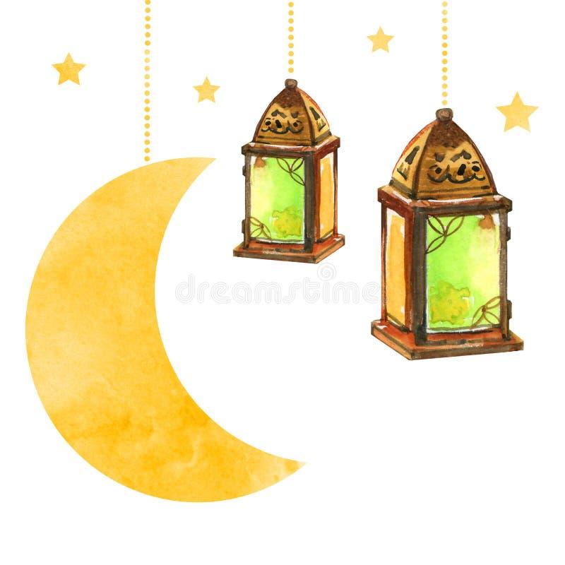 Lanternas da celebração do partido de Ramadan Kareem Iftar com lua e estrelas, ilustração tirada mão da aquarela ilustração do vetor