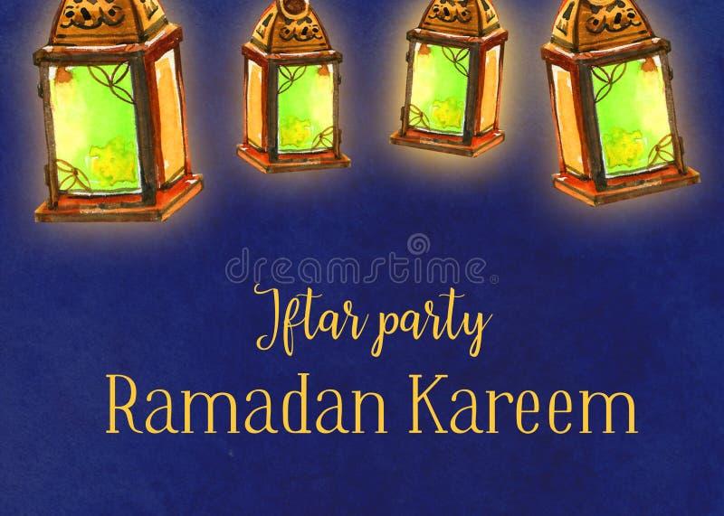Lanternas da celebração do partido de Ramadan Kareem Iftar, ilustração tirada mão da aquarela ilustração stock