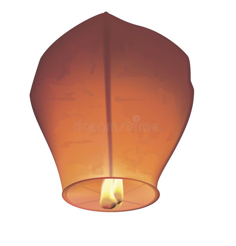 Lanternas do desejo do chinês com fogo Ilustração do vetor fotos de stock