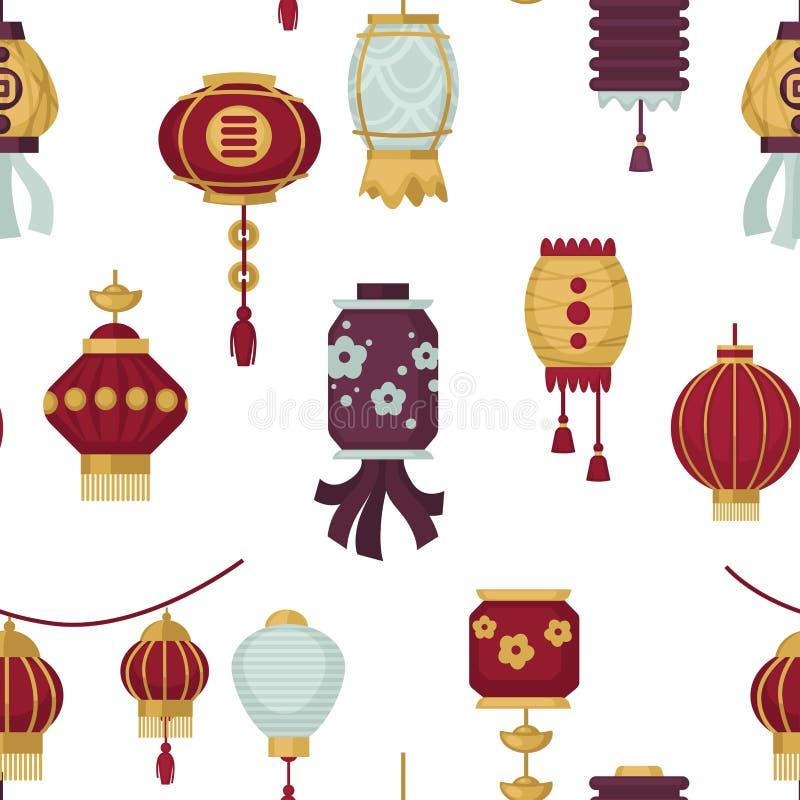 Lanternas do vetor sem emenda do teste padrão do estilo oriental e oriental ilustração stock