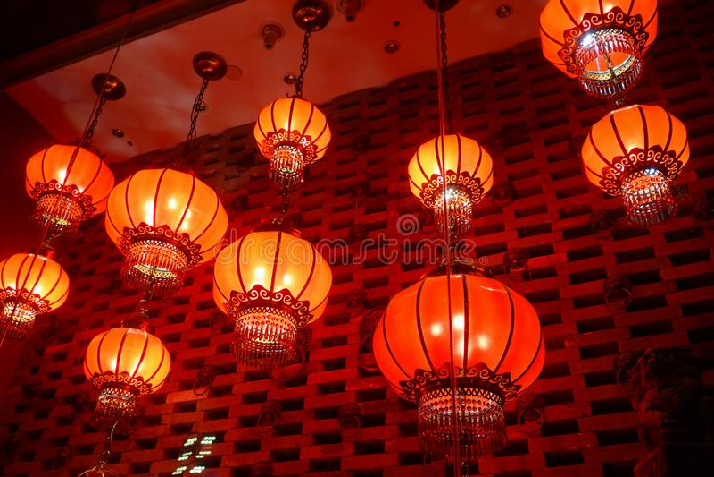 Lanternas vermelhas no festival chinês chinês do ano novo fotografia de stock