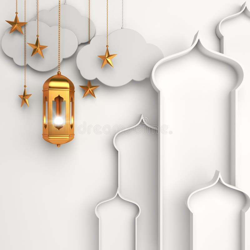Lanterne arabe d'or, croissant, nuage, étoile, fenêtre sur le fond blanc illustration de vecteur