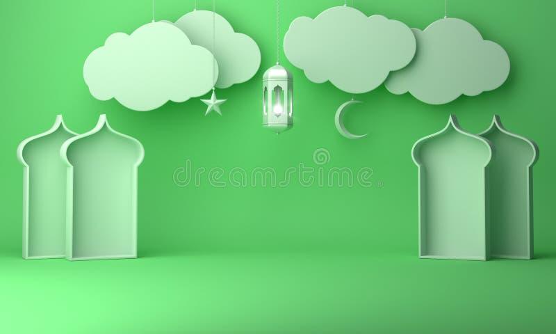 Lanterne arabe, nuage accrochant, ?toile en croissant, fen?tre sur le texte en pastel vert de l'espace de copie de fond illustration de vecteur