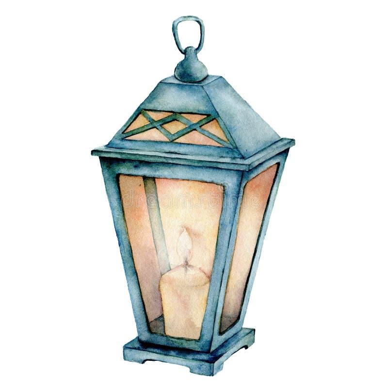 Lanterne bleue d'aquarelle Lanterne peinte à la main avec la bougie d'isolement sur le fond blanc Lampe à lueur de vintage Noël illustration stock