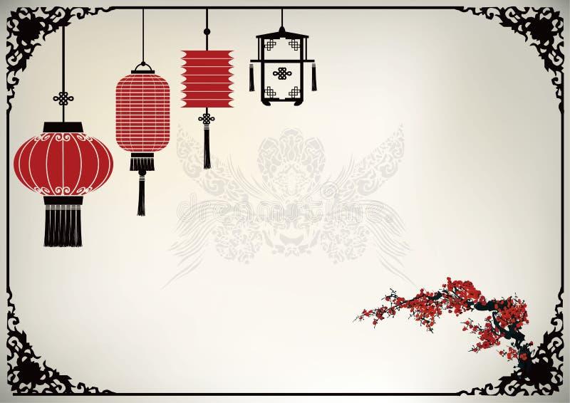 Lanterne chinoise illustration de vecteur