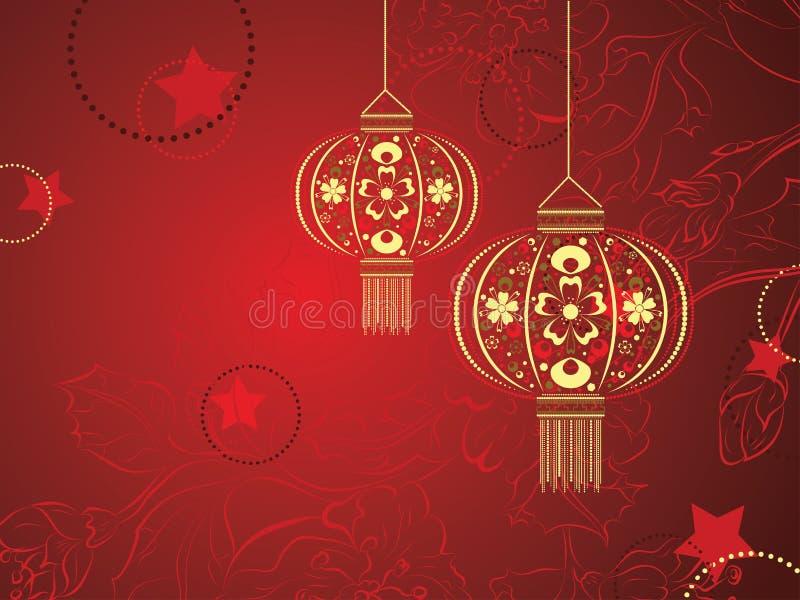 Lanterne chinoise avec des fleurs illustration libre de droits