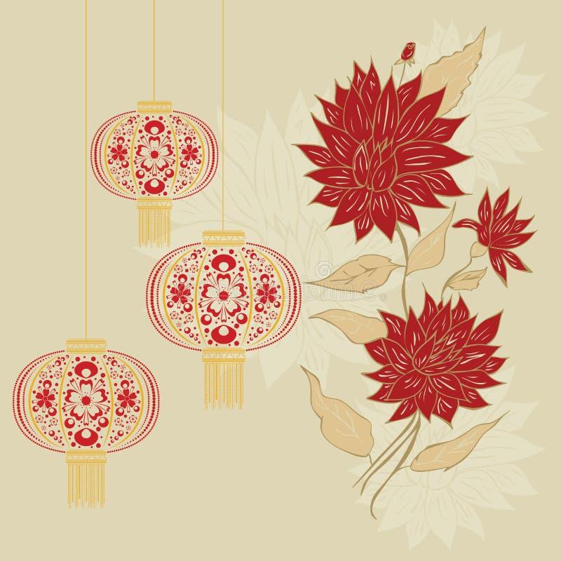 Lanterne chinoise avec des fleurs illustration de vecteur