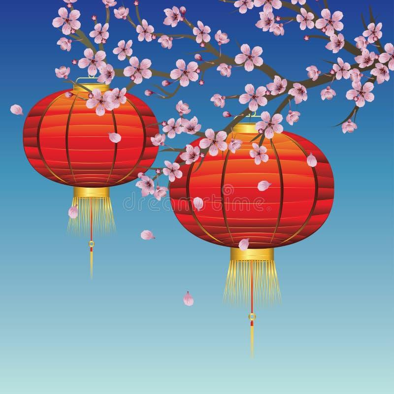 Lanterne chinoise avec Sakura Branch illustration stock
