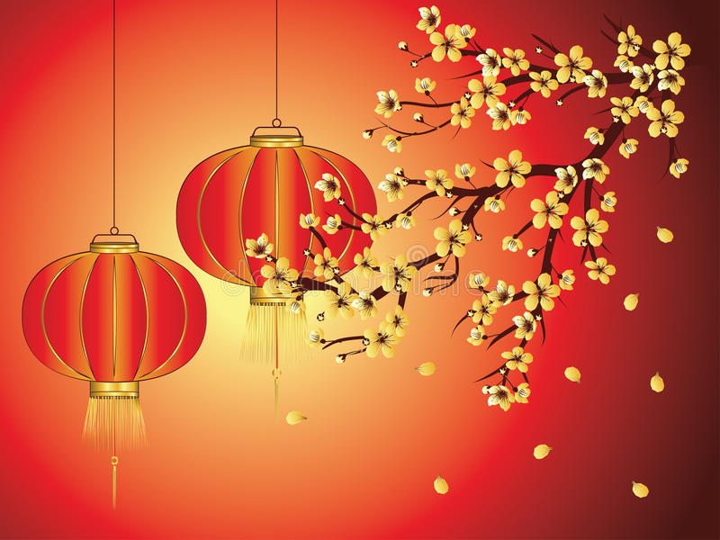 Lanterne chinoise avec Sakura Branch illustration de vecteur