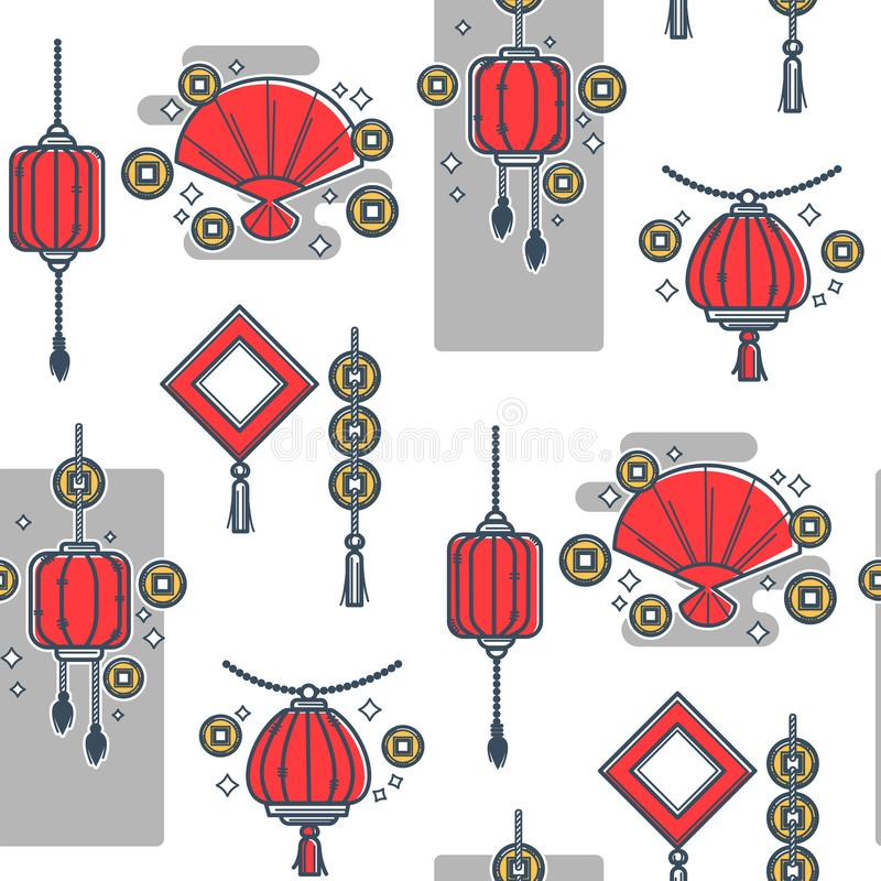 Lanterne chinoise faite de papiers, style oriental sans couture illustration de vecteur