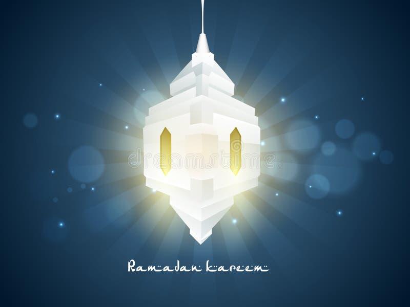 Lanterne 3D créative pour la célébration de Ramadan Kareem illustration stock