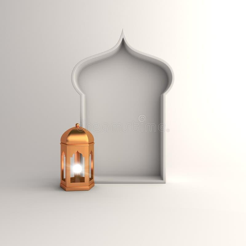 Lanterne d'or et, fenêtre arabe sur le texte blanc de l'espace de copie de fond illustration libre de droits