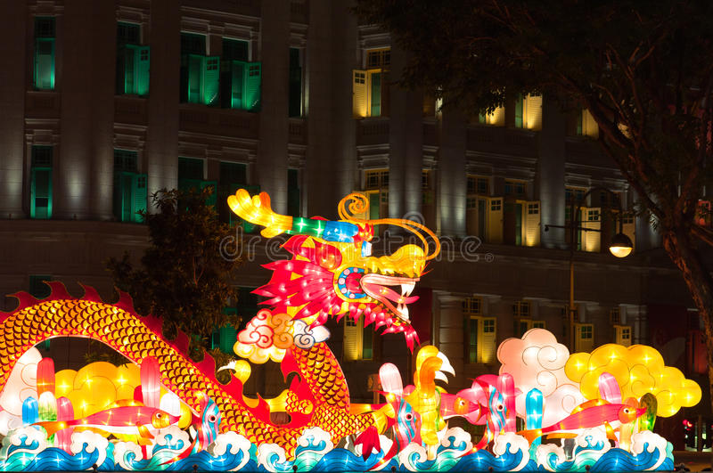 Lanterne de dragon au festival de lanterne de Singapour photos stock