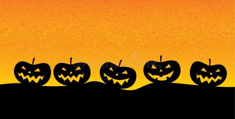 Lanterne de ` de Jack o dans un paysage morne typique pour la période de Halloween illustration de vecteur