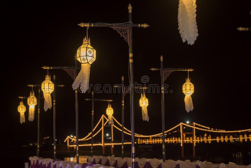 Lanterne de Lanna, décoration thaïlandaise de style de lanternes chez Loi Krathong Sai Festival Tak, Thaïlande photos stock