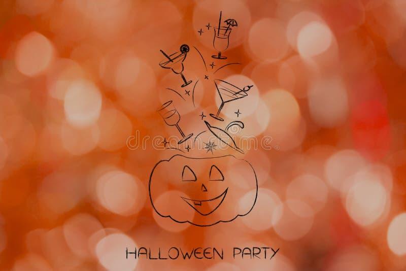 Lanterne de potiron de partie de Halloween avec des cocktails volant hors de elle photos libres de droits