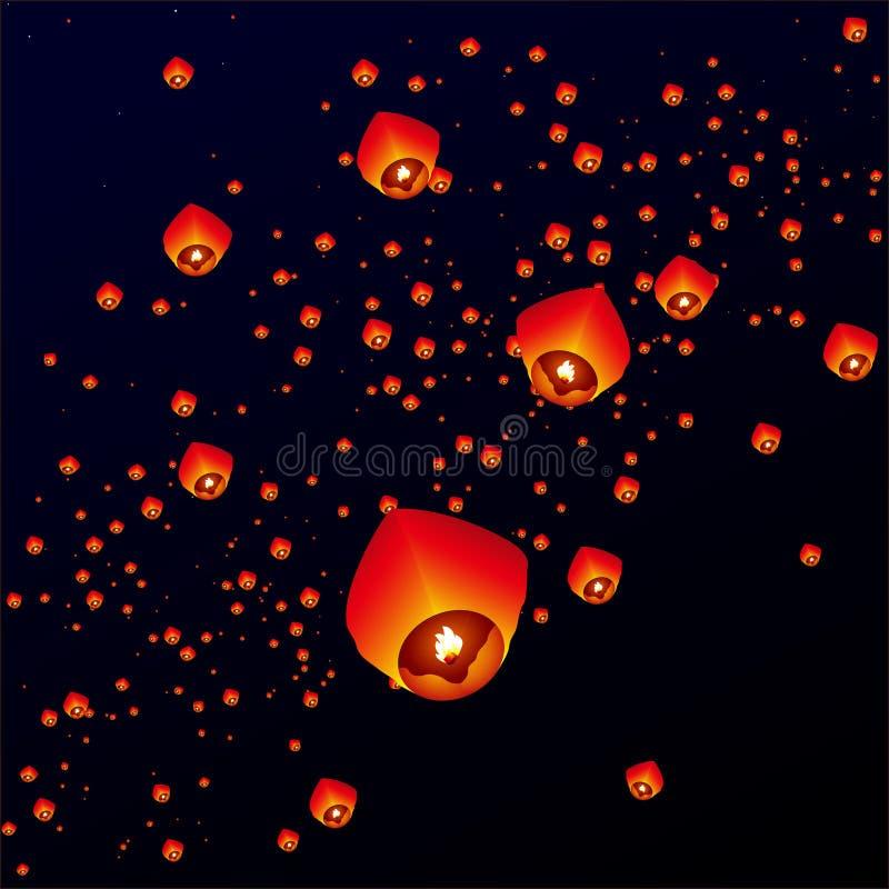 Lanterne del cielo, lanterne volanti illustrazione vettoriale