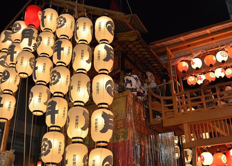 Lanterne del festival di Gion, Kyoto Giappone a luglio fotografie stock libere da diritti