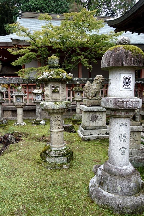 Lanterne di pietra Nara, Giappone fotografia stock libera da diritti