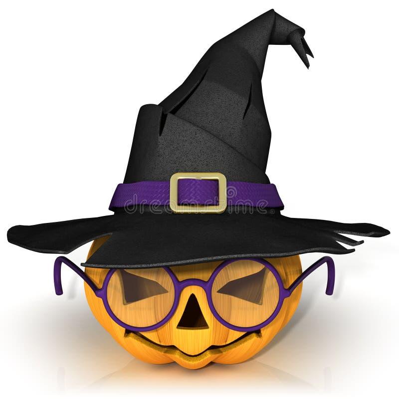 Lanterne drôle de Jack O Potiron de Halloween avec les verres pourpres, utilisant le chapeau d'une sorcière illustration de vecteur