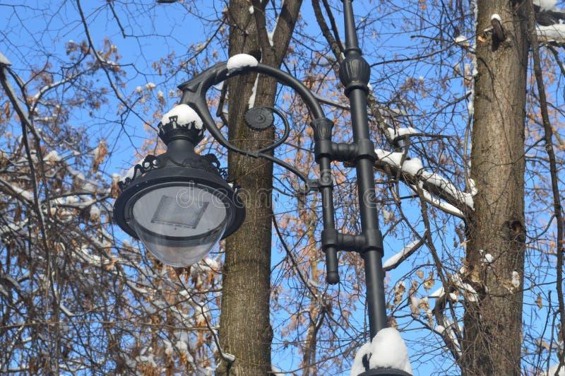 lanterne en parc, réverbère, lanterne en métal, lampadaire, lanterne dans la neige image libre de droits