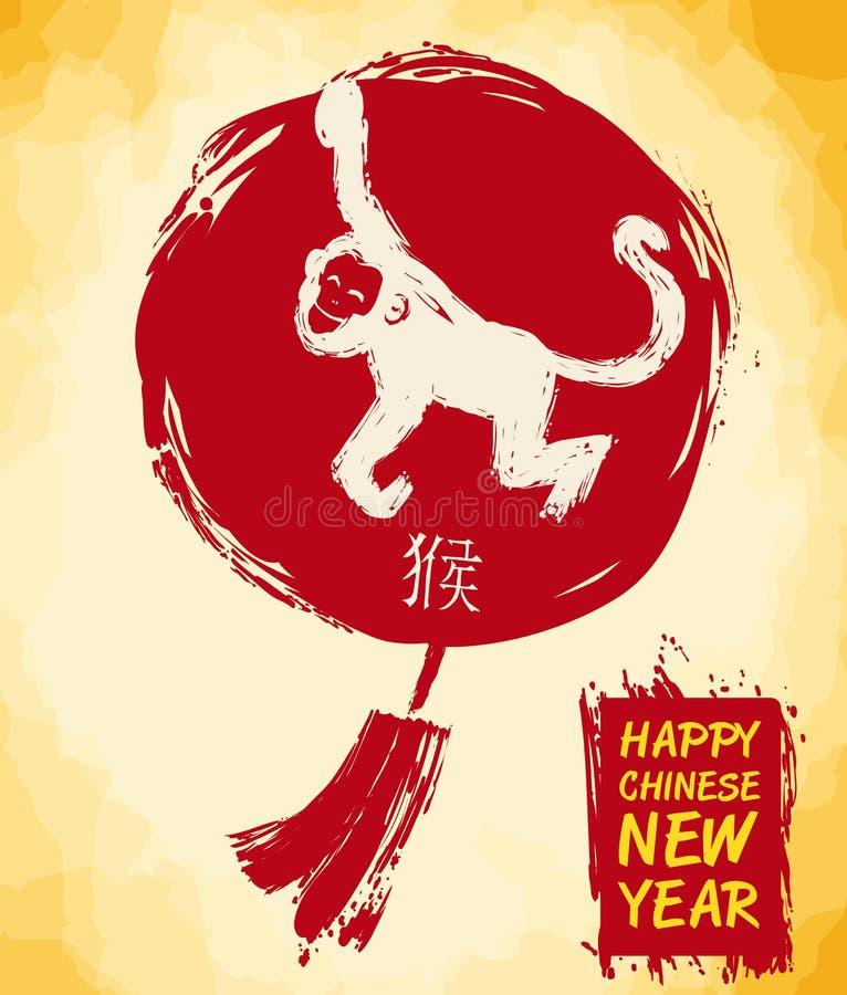 Lanterne et singe de chinois traditionnel dans le style de traçages, illustration de vecteur illustration libre de droits