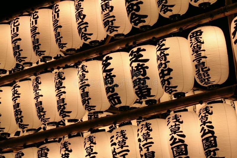 Lanterne giapponesi del tempiale immagine stock libera da diritti